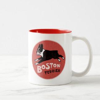 Estilo retro fresco de Boston Terrier Taza Dos Tonos