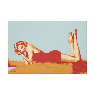 Estilo retro modelo de los años 40 del arte pop impresión en tela