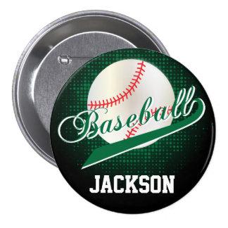 Estilo retro verde oscuro del béisbol pin redondo 7 cm