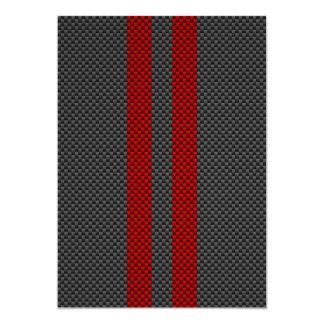 """Estilo rojo de la fibra de carbono de Borgoña que Invitación 5"""" X 7"""""""