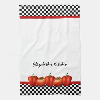 Estilo rojo personalizado del italiano de la pimie toalla de cocina