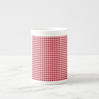 Estilo rojo y blanco de la guinga taza de porcelana