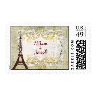 Estilo romántico del vintage de París Sellos Postales