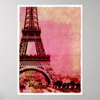 Estilo rosado del vintage de la puesta del sol de póster