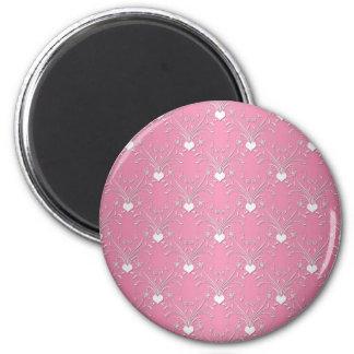 Estilo rosado dulce del damasco de los corazones f imán redondo 5 cm