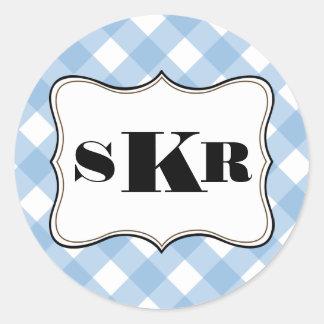 Estilo rural azul de la letra del monograma de la etiquetas