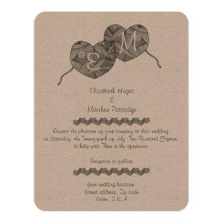 """Estilo rústico, boda de Mongoram de los corazones Invitación 4.25"""" X 5.5"""""""