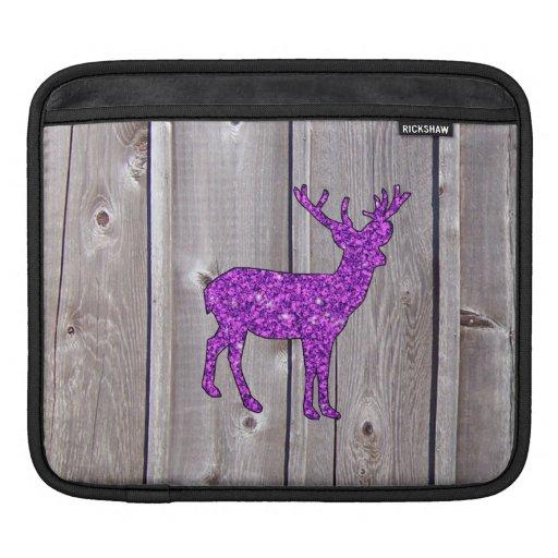 Estilo rústico de los ciervos púrpuras femeninos d fundas para iPads