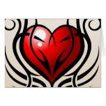 Estilo salvaje del tatuaje del corazón tarjeta