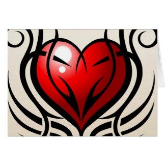 Estilo salvaje del tatuaje del corazón tarjeta de felicitación