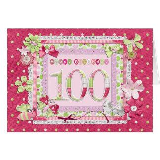 estilo scrapbooking del 100o cumpleaños tarjeta de felicitación