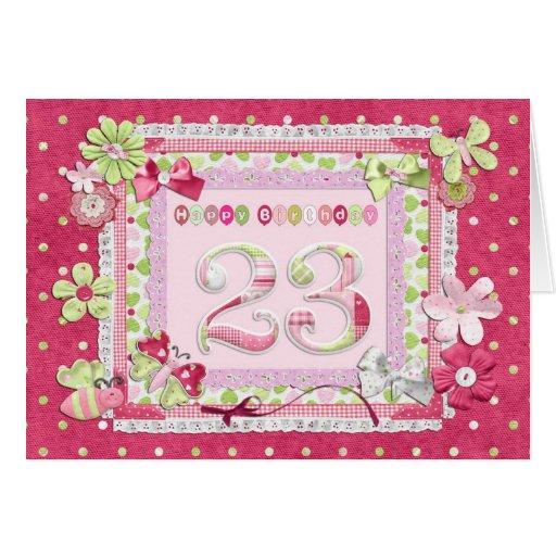 estilo scrapbooking del 23ro cumpleaños tarjeta de felicitación