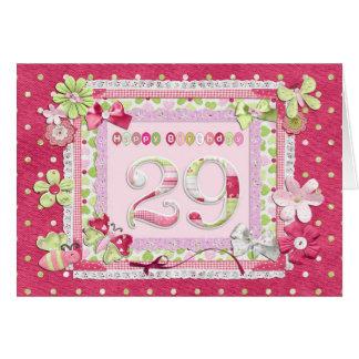 estilo scrapbooking del 29no cumpleaños tarjeta de felicitación