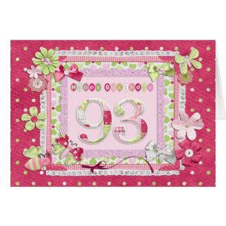 estilo scrapbooking del 93.o cumpleaños tarjeta de felicitación