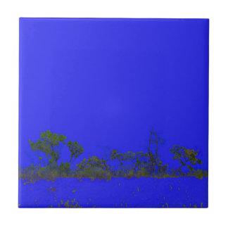 estilo trasero del bosquejo del árbol del azul teja