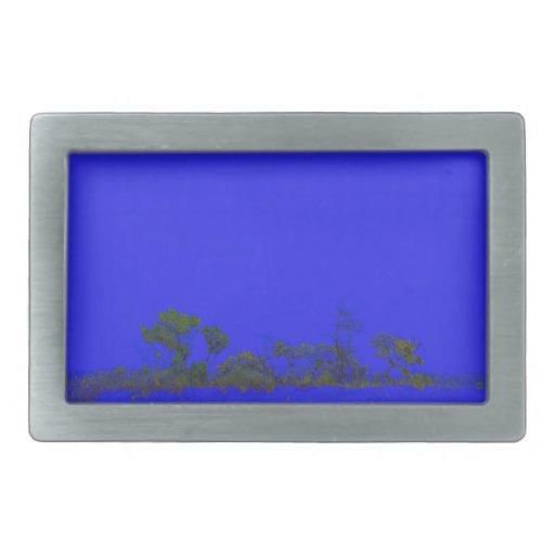 estilo trasero del bosquejo del árbol del azul hebilla de cinturón rectangular