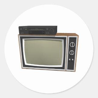 estilo TV y VCR de los años 80: modelo 3D Pegatina Redonda