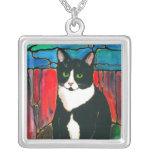 Estilo único del vitral del gatito lindo del gato  colgantes personalizados