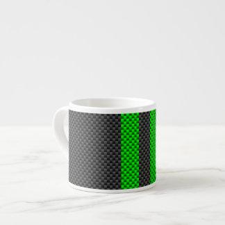 Estilo verde de la fibra de carbono del acento que taza espresso