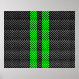 Estilo verde eléctrico de la fibra de carbono que póster