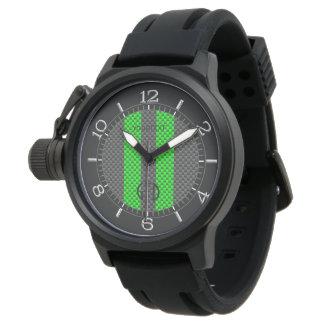 Estilo verde personalizado del carbono que compite relojes de mano