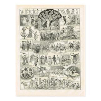 Estilos del baile, franceses 1920 tarjeta postal