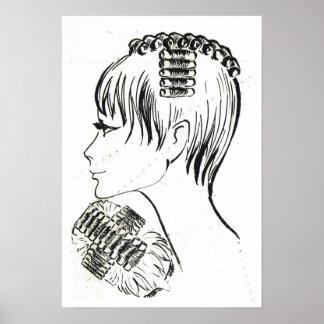 Estilos y gestión franceses de pelo del vintage re póster