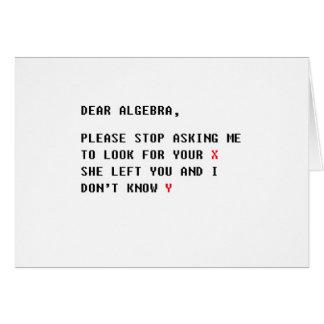 estimada álgebra tarjeta de felicitación