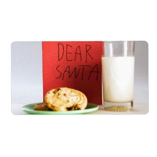 Estimada leche de Santa y etiquetas del navidad de Etiquetas De Envío