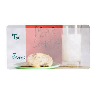 Estimada leche de Santa y etiquetas del navidad de Etiqueta De Envío