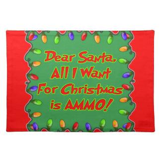 estimada letra del deseo del navidad de la munició mantel individual