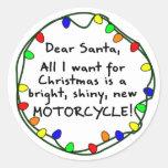 Estimada motocicleta de Santa Etiquetas Redondas