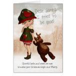 Estimada tarjeta de Navidad linda retra de Santa c