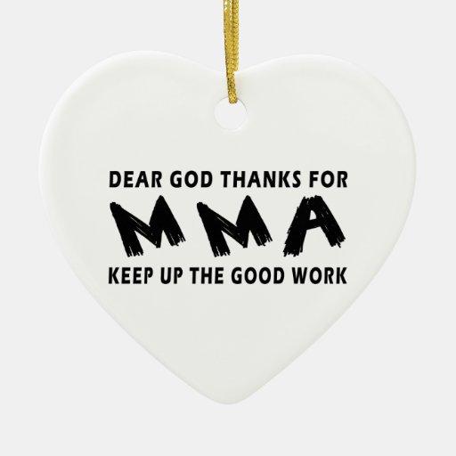 Estimadas gracias de dios por artes marciales adorno navideño de cerámica en forma de corazón