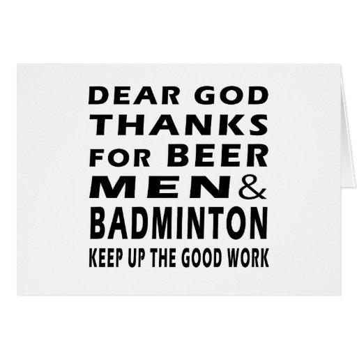 Estimadas gracias de dios por hombres y bádminton  tarjeton
