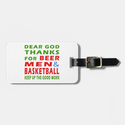 Estimadas gracias de dios por hombres y baloncesto etiquetas para equipaje