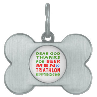 Estimadas gracias de dios por hombres y Triathlon Placa De Mascota