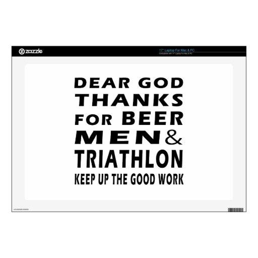 Estimadas gracias de dios por hombres y Triathlon  Portátil Skins