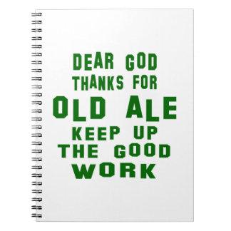 Estimadas gracias de dios por la cerveza inglesa spiral notebook