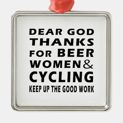 Estimadas gracias de dios por mujeres y el ciclo adorno cuadrado plateado
