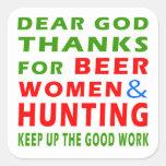 Estimadas gracias de dios por mujeres y la caza de calcomania cuadrada personalizada