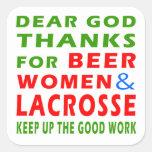 Estimadas gracias de dios por mujeres y LaCrosse Calcomanías Cuadradass