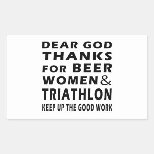 Estimadas gracias de dios por mujeres y Triathlon Rectangular Pegatinas