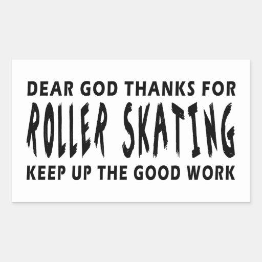 Estimadas gracias de dios por patinaje sobre pegatina rectangular