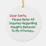 Estimado abogado de Santa Ornamentos De Navidad
