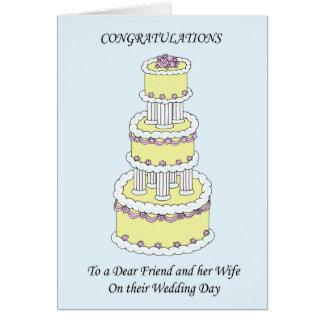 Estimado amigo y esposa en enhorabuena del día de tarjeta de felicitación