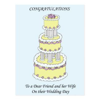 Estimado amigo y esposa en enhorabuena del día de tarjeta postal