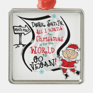 Estimado deseo del vegano de Santa Ornamentos De Navidad