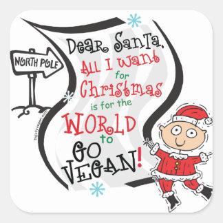 Estimado deseo del vegano de Santa Pegatina Cuadrada