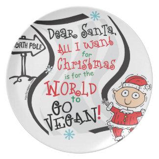 Estimado deseo del vegano de Santa Plato De Comida